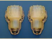 ON HOLD Pair Deco Slip Shade Sconces by Lightolier. 2 pair available