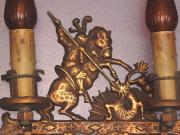 Bronze St. George slaying the Dragon Wall Sconces c.1925