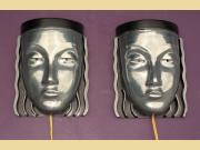 Pair Mid Century Art Deco Womans Face Wall Sconce