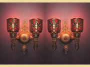 Pair Vintage Bronze 2 Bulb Sconces with Mica Bulb Shields