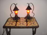 Vintage Pr Arts & Crafts Bedside Table Lamps.  Restored Antique Hammered Finish