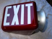 Vintage Ruby Red Exit Sign Wall Mount