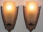 Slip Shade Lighting Sconces Late 20s Vintage Signed Puritan