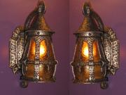 Pair Antique Cottage Porch Lights fixtures Original glass