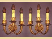 Pair Neoclassic 3 Arm Sconces