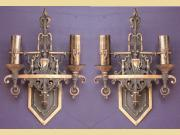 ON HOLD Pair Revival Style 2 Bulb Solid Bronze Sconce