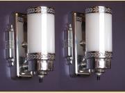 Vintage Pair Chrome and Milk Glass Bathroom Sconces