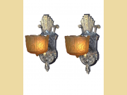 Pair Vintage Slip Shade Sconces Re-Polished