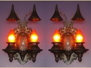 Pair Cast Iron Tudor Gothic Storybook 2 Bulb Sconces Original Finish
