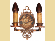 Set of 3 Two Light Tall Ship Sconces in Bronze Original Finish and Patina Priced each
