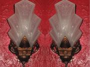 Vintage Pair Slip Shade Wall Sconces c.1920s - 30s