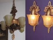 Beardslee SET 5 Slip Shade Ceiling Fixture with Matching Signed Sconces