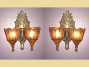 Vintage 2 Bulb Slip Shade Wall Sconces Original Finish and Patina 3 available