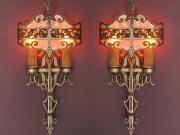 Pair Tudor Style Sconces Original Finish