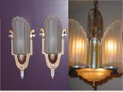 ON HOLD Art Deco 6 Shade Ceiling Slip Shade Fixture and Matching Sconces