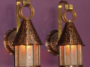 Pair Copper and Brass Porch Lights