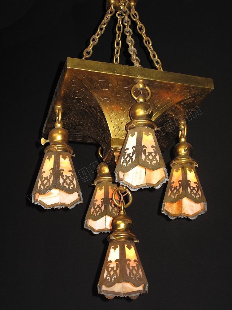 Antique Arts Crafts 5 Shade Vintage Chandelier Elegant Centerpiece Fixture